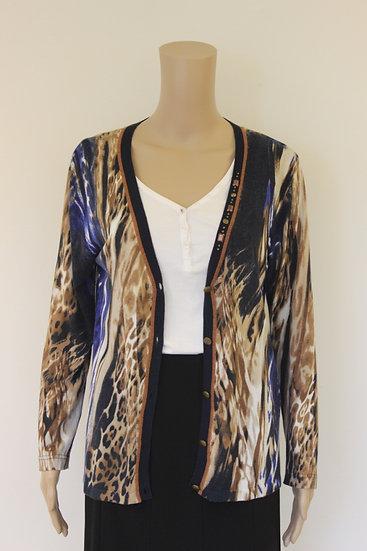 Gelco - Bruin/blauw/beige vest, maat 38/40