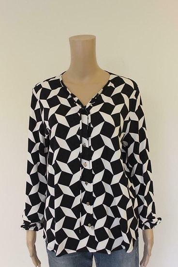 Claudia Sträter zwart/roomwit blouse maat S (maat 36/38)