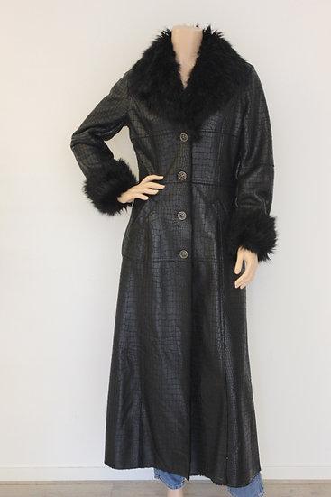 Bandolera - Zwarte lange leatherlook jas, maat 38
