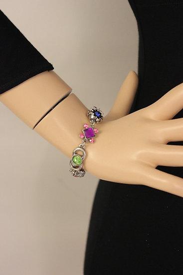 Zilveren armband met gekleurde strass steentjes