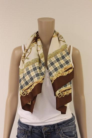 Bruin/beige/gele/zwarte vierkante sjaal