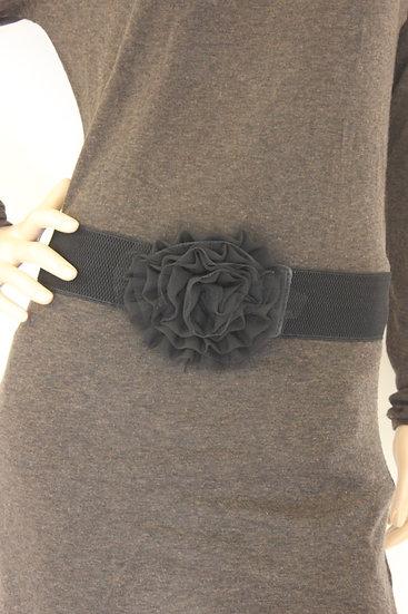 Zwarte riem met bloem