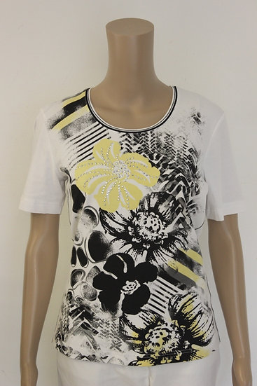 Gerry Weber - Wit T-shirt met geel/zwarte opdruk, maat 38