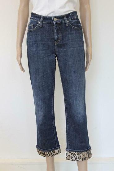 Cambio - Blauwe 7/8e jeans met panterprint, maat 38