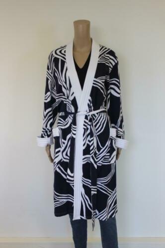 Chérie Line donkerblauw/witte badjas/ochtendjas maat 40