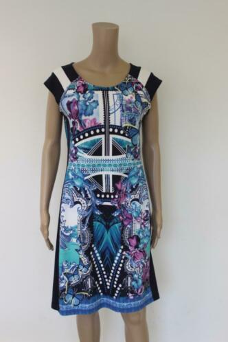 Betty Barclay - blauwe bonte jurk, maat 40
