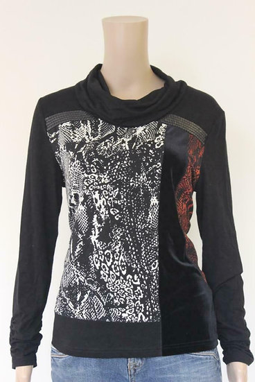 Gelco - Zwart/rood/wit colt-shirt, maat 40