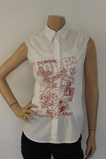 Desigual - Witte blouse zonder mouwen, maat 36