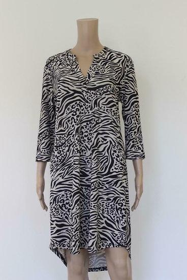 Triple Nine - zwart/beige jurk, maat L (maat 42/maat 44)