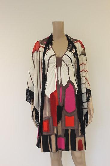 Carlopik - set van bonte jurk en sjaal, maat M (maat 38/maat 40)