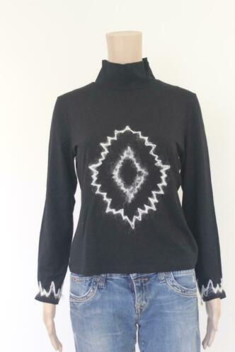 Zwart col t-shirt, maat 38
