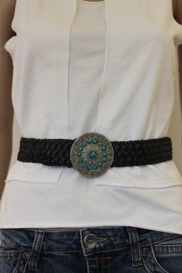 Bruine riem met zilveren gesp en blauwe steentjes