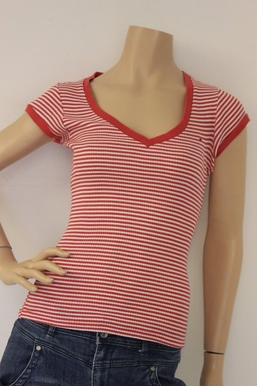 Tommy Hilfiger - Rood/wit T-shirt, maat 38