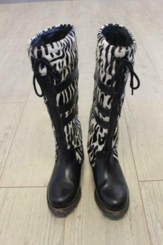 O'Quiry zwart/beige dierenprint laarzen maat 37