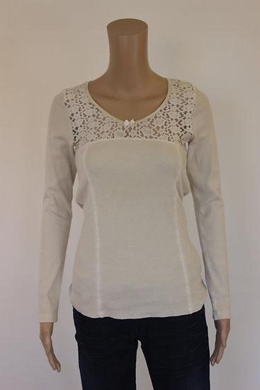 Amor Lola - Beige shirt met kant, maat 38