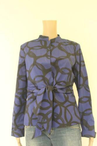 Cora Kemperman blauw/zwart blousejasje maat L (maat 40)