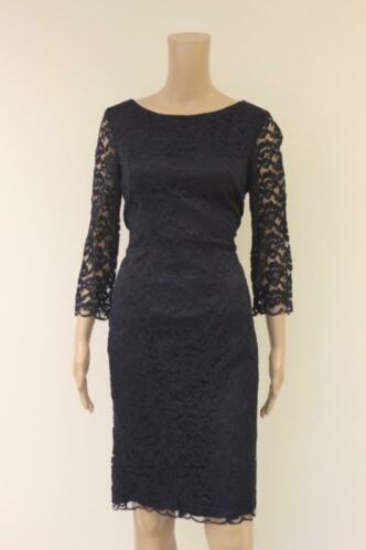 Patrizia Dini donkerblauwe kanten jurk maat 40