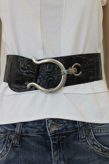 Robako - Zwarte riem met zilveren gesp