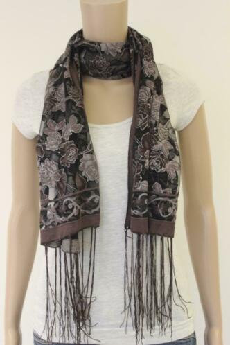 Bruin/grijs/zilveren sjaaltje
