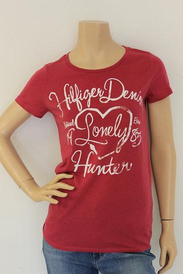 Tommy Hilfiger - Roze T-shirt met witte tekst, maat 38