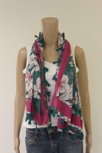 Anna van Toor - fuchsia/groen/witte sjaal