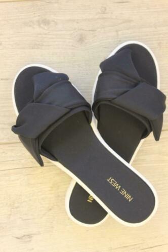 Nine West - zwart/witte slippers, maat 40/40.5