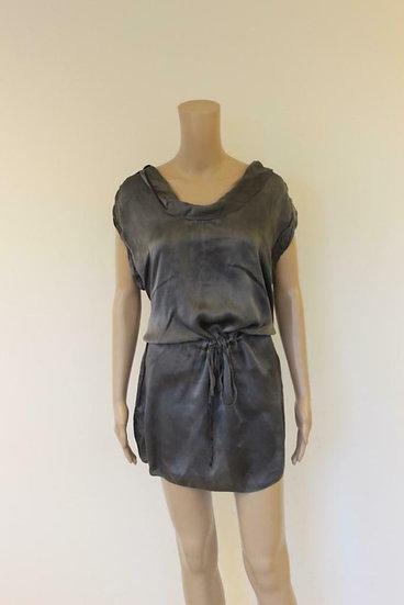 Braez - grijze zijden glanzende tuniek/jurk, maat L (maat 40)