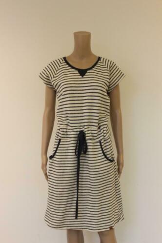 Mooi Vrolijk - blauw/wit gestreept jurk, maat XL (maat 40)
