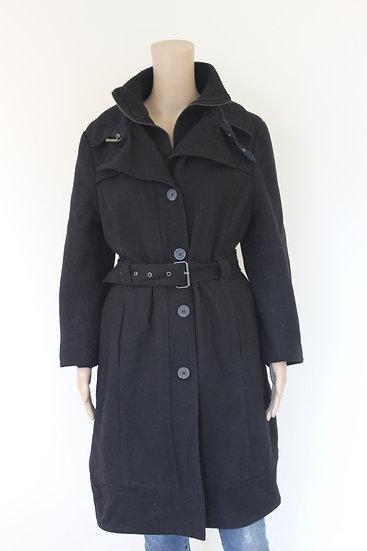Eddy's Jackets - Zwarte wollen jas, maat 38/40