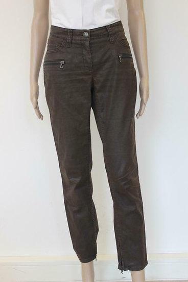 Cambio - Bruine broek met wax-look, maat 36