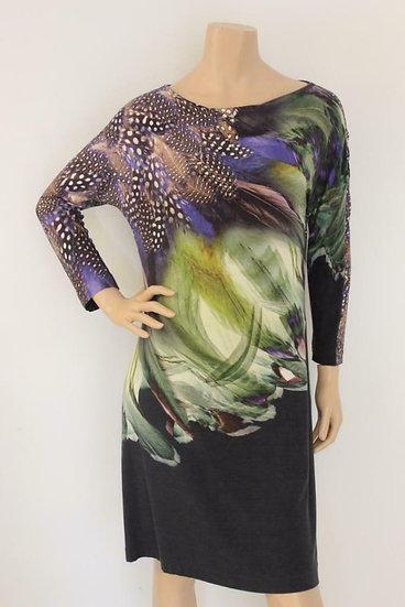 Jean Paul - Zwarte jurk met print, maat 40
