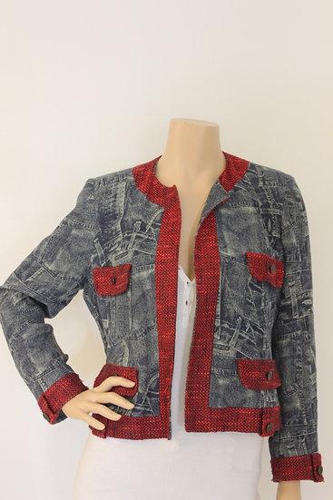 Cara Lotti - Blauw/rood jeansjasje, maat 38