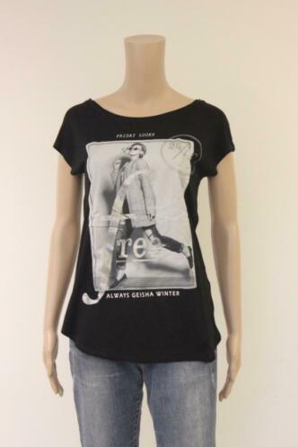 Geisha-  zwart/grijs t-shirt, maat M (maat 38)