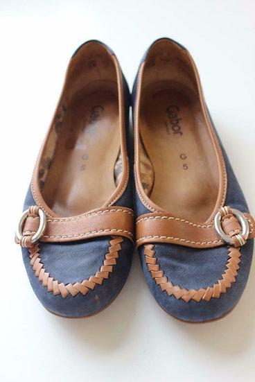 Gabor - Bruin/blauwe instappers, maat 38