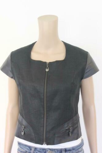 Onimo zwart linnen/leren jasje maat 38