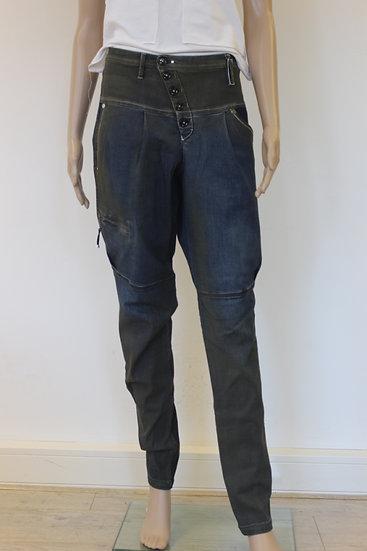 High - Donkerblauwe spijkerbroek met wax-look, maat 42