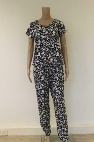 Betty Barclay dblauw/witte set van t-shirt en broek maat 38