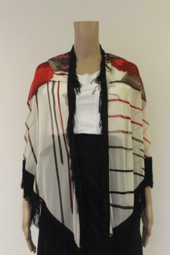 Carlopik dunne sjaal in roomwit/bruin/roze
