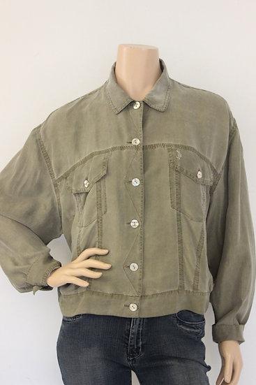 Public - legergroen zijden blousejasje, maat 38/40