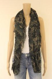 Liebeskind zwart/bruine dunne rechthoekige sjaal