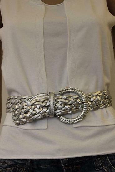Zilverkleurige gevlochten riem