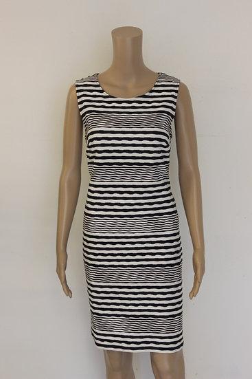 Betty Barclay - Donkerblauw/wit gestreepte jurk, maat 38/40