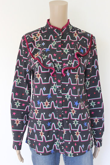 Wanderlust - Zwart/bonte blouse, maat 38/40
