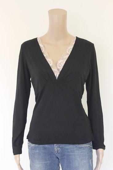 Expresso - Zwart T-shirt met beige kant, maat 42/44
