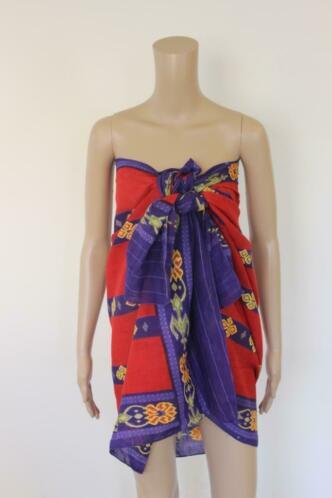 Rood/paars/gele grote sjaal/omslagdoek