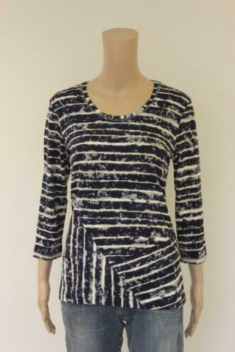 Betty Barclay - blauw/beige/roomwit t-shirt, maat 38