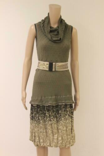 Beate Heymann groene jurk met riem mt M (valt als mt 36/38)