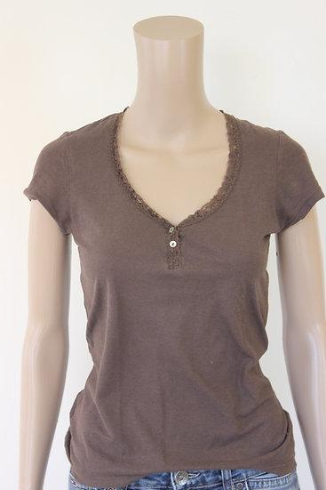 River Woods - Bruin V-hals t-shirt, maat 36