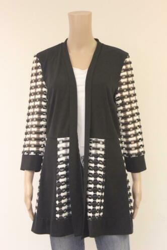 Select! - zwart/wit lang vest, maat 44