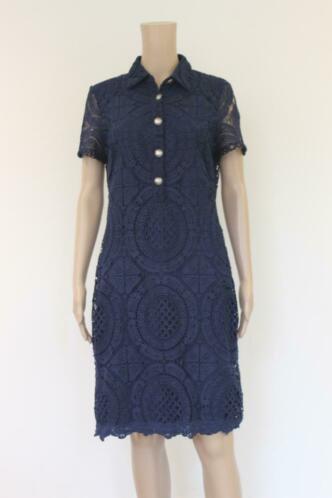 Esqualo blauwe kanten jurk maat 38